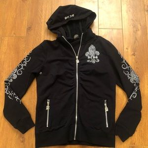 Bcbg Black Rhinestone Hoodie Zip Up Jacket